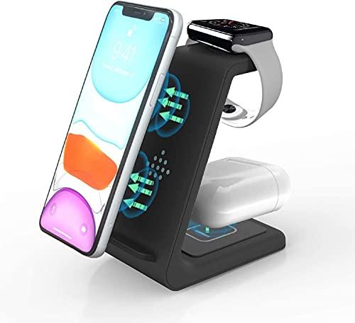 ZHIKE 3 en 1 Chargeur sans Fil, Qi 10W Charging Pad-Chargeur à Induction pour Apple Watch Series 6/5/4/3/2, AirPods, iPhone SE 2020/11 Pro Max/XS Max/XR/X/8 Plus/Samsung/Huawei/Xiaomi