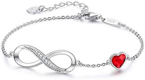 CDE Infinity Heart Symbol Charm Bracelet for Women 925 Sterling Silver Adjustable Valentine product image