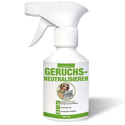 Silberkraft Geruchsneutralisierer 500 ml, Spray Hund Katze Nager gegen unangenehme Tiergerüche wie Hunde- und Katzenurin, Geruchsentferner für Haushalt, Auto, mit Zitronengrasöl