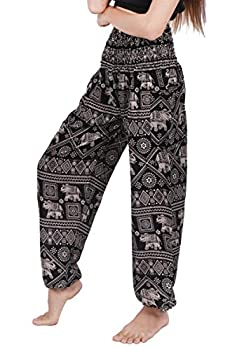 Banjamath Women s Smocked Waist Harem Hippie Boho Yoga Palazzo Casual Pants  S,Elephant Black