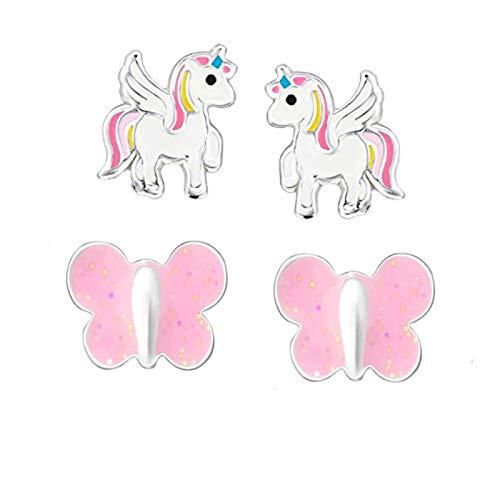 FIVE-D Kinder Ohrringe – Einhorn Schmetterling 925 Silber - Hochwertige Mädchen Ohrstecker – Geschenk Set Kinderschmuck