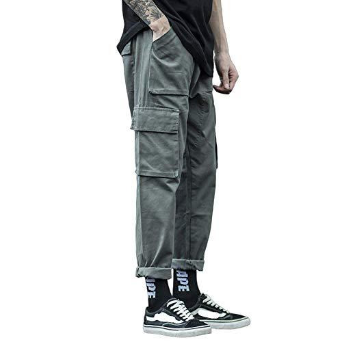 brandless Pantalon décontracté pour Hommes Mode Salopette Sauvage Cordon de Serrage Taille élastique Lâche Multi-Poches Droite Sarouel Couleur Unie