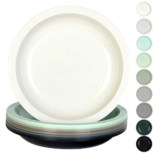 Youngever 7.5 Inch Plastic Plates, Small/Kid Size, Kids Plates, Toddler Plates, Snack Plates, Microwave Safe, Dishwasher Safe, Set of 9 in 9 Urban Colors