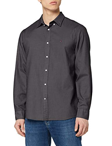Tommy Hilfiger Basic Herringbone Shirt Camicia, Dark Grey Heather, L Uomo