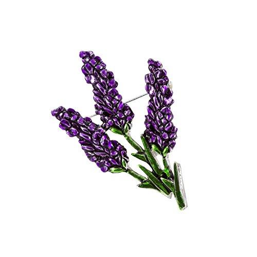 Damen-Brosche Lavendel Lila Emaille Anstecknadel Messing Versilbert 6 x 3,5 cm