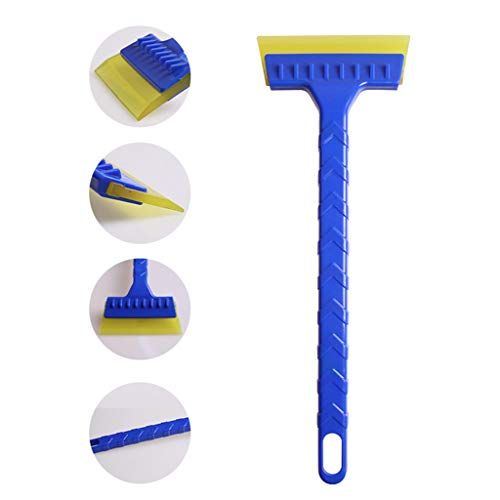 kitt 2-in-1 Multi-Purpose Car Ice Scraper Windscreen Ice Snow Scrapper Squeegee with Long Handle (Blue)