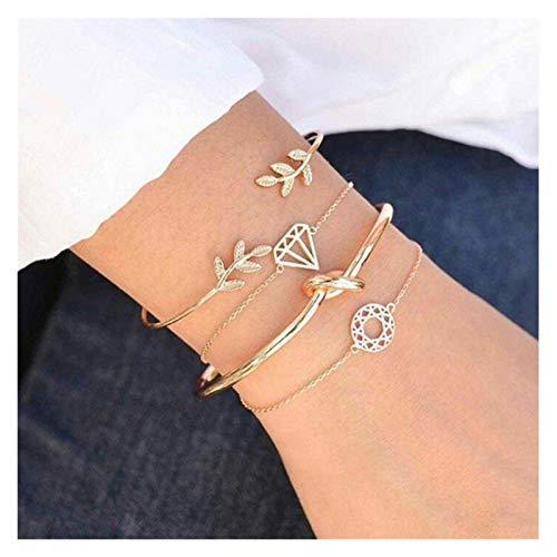 Shop-PEJ Juego de pulseras de moda para mujer, diseño de hojas, nudo delicado, para fiestas, bodas, accesorios para mujeres/mamá/esposa (color: BR028)