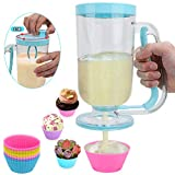 2-in-1 Pancake/Batter/Cupcake Dispenser-Perfect Baking Tool for Cupcakes,Pancakes,Muffins,Crepes,Cakes,Waffles and Any Baked Goods (Blue)