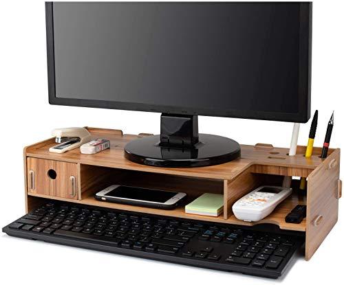 APAN Wood Monitor Stand Raiser,Multifunctional Wooden Office Desk Organiser Desktop Computer Screen Riser Keyboard Storage Holders Computer Screen Riser Home Laptop Storage Stand for TV Wooden