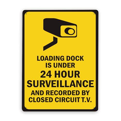 Señal de advertencia,El muelle de carga de letreros de vigilancia tiene vigilancia de menos de 24 horas y está grabado por circuito cerrado de televisión.,Señal de advertencia 12x16 Inch