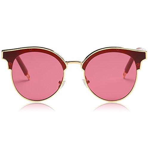 SojoS Schick classici ponti retrò in metallo Specchio rotondo occhiali da sole per gli uomini e le donne SJ1055 con Oro Telaio/Rosa Lente
