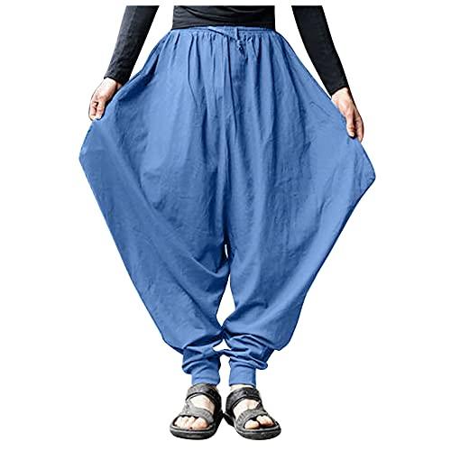 Pantalones Harén Hombre Verano de Gran Tamaño Retro, Pantalones Chandal Hombres Ligeros Sueltos de Deportivos Yoga de Algodón Elástico, Pants de Danza Color Sólido Harem Boho Hippy
