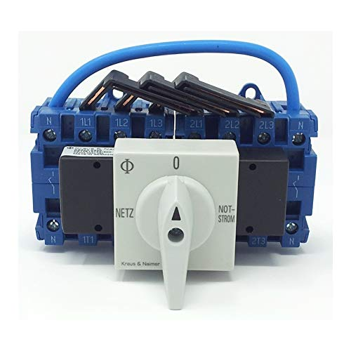 Kraus & Naimer KG32A K950 VE2 +F437 Umschalter mit Stellung Netz 0 Notstrom 4-polig 90° 45mm-Schnappbefestigung Lastschalter
