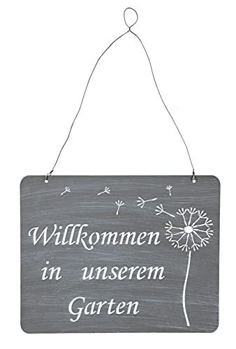 levandeo Schild Willkommen Im Garten 31x25cm Deko Grau Pusteblume Eisen Metall Türschild Wandbild Gartendeko Außendeko