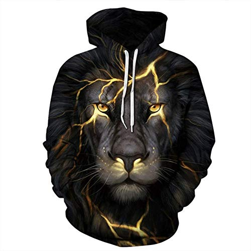 Votovcom Männer Frauen Sweatshirts 3D-Druck Golden Lightning Lion Hooded Hoodie Dünne Hoody Trainingsanzüge Tops