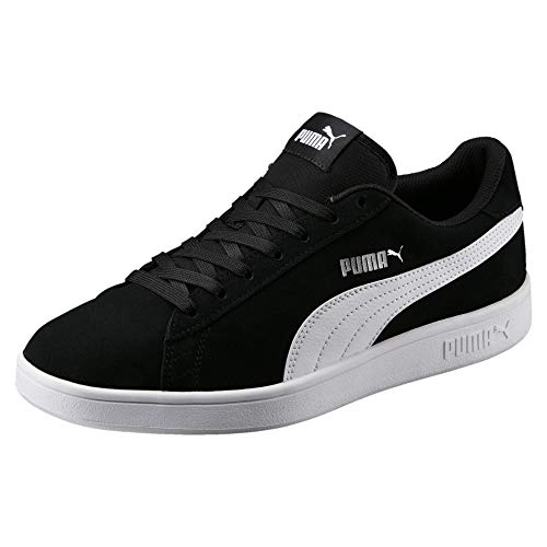PUMA Smash V2, Zapatillas Unisex-Adulto, Negro Black White Silver, 43 EU