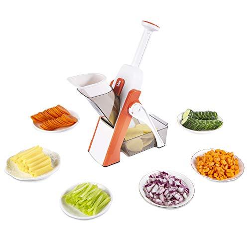 ONCE FOR ALL Gemüseschneider, verstellbare Dicke, Kartoffel-Zwiebel-Zerkleinerer, sicher, aufrechter Würfeler, Obst (warmes Orange)