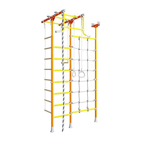 Metall Sprossenwand für Kinder Mercury 2, schwedische Leiter + Klimmzugstange + Kletternetz, orange