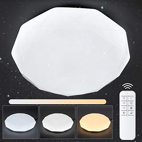 Albrillo LED Deckenleuchte Sternenhimmel Dimmbar - 24W Deckenlampe mit Fernbedienung, 3000-6000K Warmweiss/Kaltweiss/Natürliches, Sternenlicht für Schlafzimmer, Kinderzimmer, Treppenhaus, Ø 34 cm