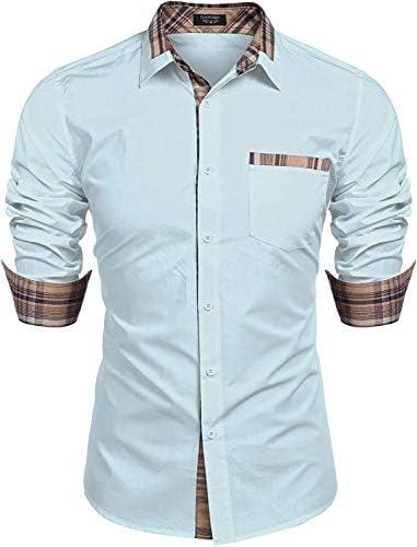 COOFANDY Men s Casual Cotton Long Sleeve Dress Shirt Plaid Collar Slim Fit Button Down Shirt product image