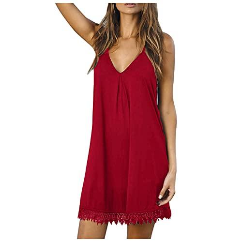 TYTUOO Vestido de mujer con cuello en V sin mangas, corto, holgado, casual, con costuras de encaje, vestido de verano, elegante, fiesta, playa, vestido de verano