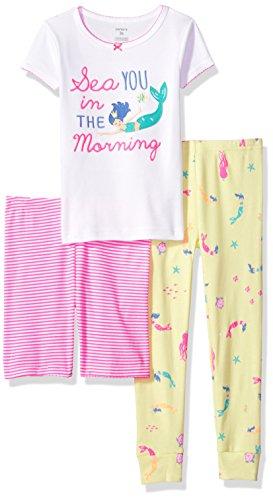 Carter's Girls' Big 3-Piece Cotton Pajamas, Mermaid, 8