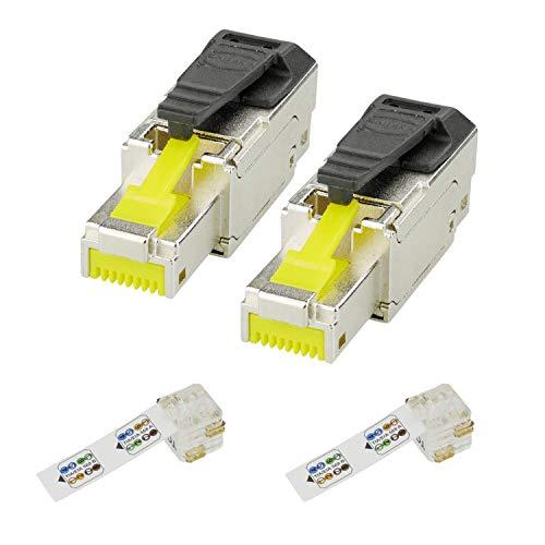 HARTING 2x preLink Cat.6A RJ45 Stecker 500 MHz 10 Gigabit Modular Stecker Kat 6A...