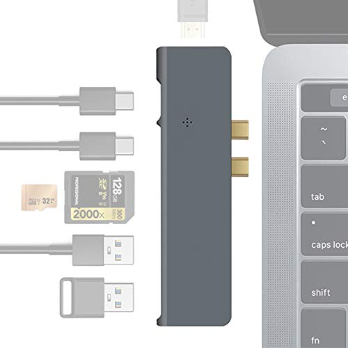 EJOYDUTY USB C Hub Adapter voor MacBook Pro 2019/2018-2016 MacBook Air, 7-in-1-dongle type C, met Thunderbolt 3 100W PD, 4K HDMI, Gigabit Ethernet, 2 USB 3.0, SD/TF-kaartlezer
