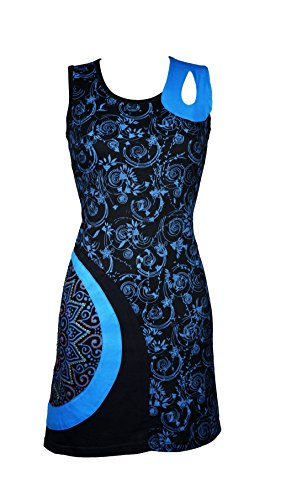 Filosophie Wunderschönes Sommer Kleid mit grafischen All-Over Muster und einzigartigen Details - Agni (türkis) (XXL)