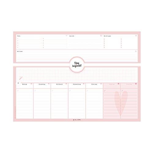 Schreibtischunterlage in pink/rosa aus Papier mit 50 Blatt zum Abreißen - Hochwertige Schreibtischunterlage im Format DIN A3 Für Kinder und Erwachsene ... 2018 - Stay Inspired by Lisa Wirth