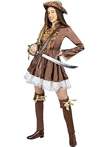 Funidelia   Disfraz de Pirata Colonial para Mujer Talla XS Corsario, Bucanero - Color: Marrn - Divertidos Disfraces y complementos para Carnaval y Halloween