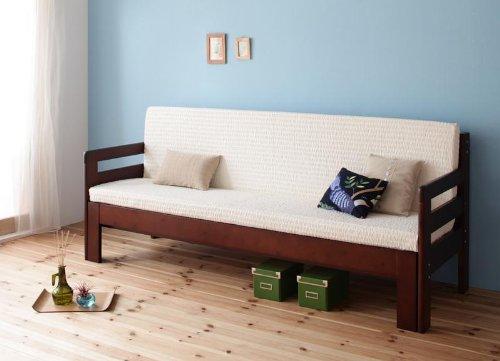 ベッドとソファで1台2役省スペース!横幅伸縮の天然木すのこソファベッド【ecli】エクリソファー(マットレス付き色:ダークブラウン)tu-25461