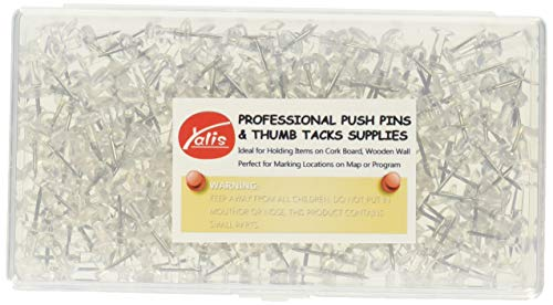 Yalis Push Pins, Clear Thumb Tacks 150-Count Clear Standard Push Pins Steel Point and Plastic Head