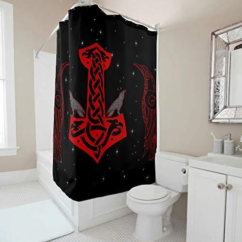 Firelife Wikinger Hammer Rabe Duschvorhang Anti-Schimmel Wasserdicht Waschbar Polyester Badewanne Vorhänge mit Haken