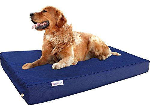 Dogbed4less Extra Large Orthopedic Gel Infused Memory Foam Dog Bed, Waterproof Liner and 1680 Ballistic Blue External Cover, 40X35X4 Inch