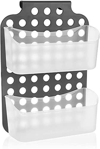 Litcom Cesta de ducha con 2 compartimentos, soporte de gel de ducha con ganchos para colgar, cestas colgantes de altura ajustable, estante de ducha flexible (gris)
