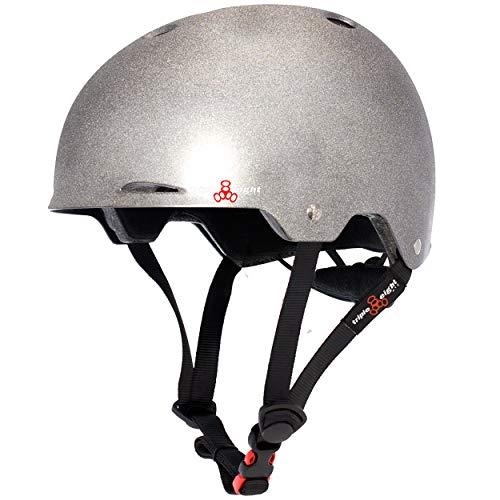 Triple Eight Darklight Reflective Gotham Dual Certified Skateboard and Bike Helmet for Night Riding Small/Medium