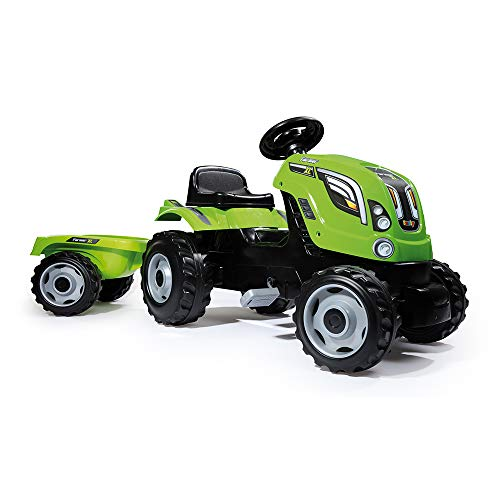 Tractor Farmer XL verde a pedales con remolque (Smoby 710111)