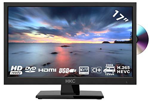 HKC 17H2C (17 Zoll) LED-Fernseher mit DVD-Player (HD, Triple Tuner, CI+, Mediaplayer USB 2.0, 12V Kfz-Ladegerät)