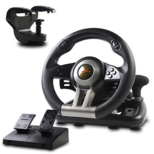Racing Wheel, PXN-V3II 180° Game Racing Steering Wheel with Pedal and Shift Paddle, Compatible for PC, PS3, PS4, Xbox One, Nintendo Switch.(Black)