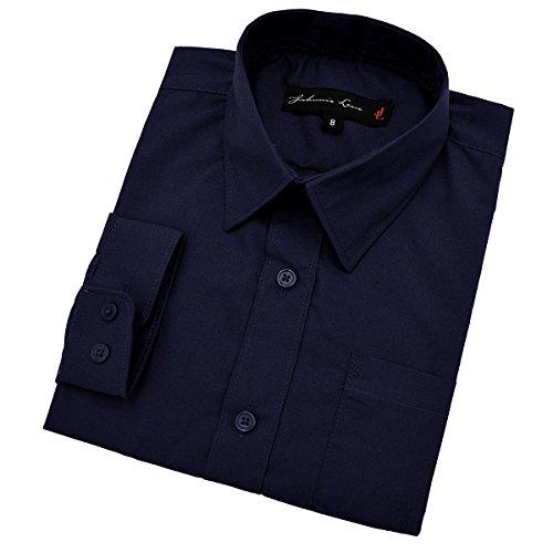 Johnnie Lene Little Boy's Long Sleeves Solid Dress Shirt #JL32 (7, Navy)