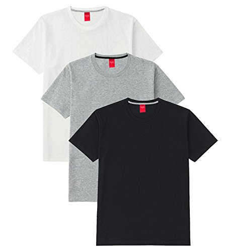 Scott International Men's Basic Cotton Round Neck Half Sleeve Solid T-shirts (Black,White,Grey)...