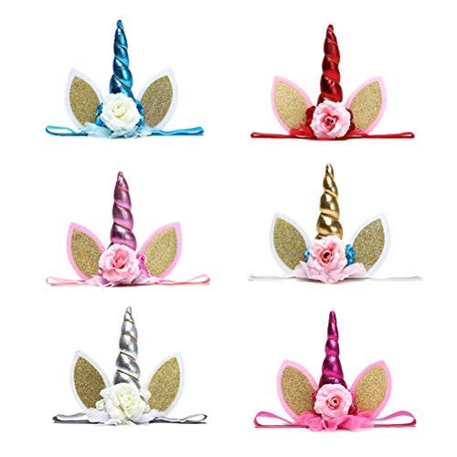 Beaupretty - 6 unidades de cinta para el pelo con unicornio y flores para la oreja con purpurina y cuerno brillante, elástica, para fiestas de cumpleaños, disfraces, espectáculos, cosplay