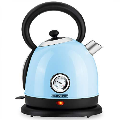 monzana® Wasserkocher 1,8 Liter 2200W Retro Design Teekocher Edelstahl Cool Touch Griff BPA frei blau