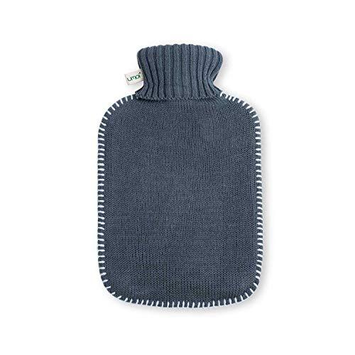 Premium Wärmflasche 1.8 Liter mit schönem weichen Strickbezug und weißen Nähten, Wärmekissen, Wärmeflasche, Bettflasche - BS1970:2012 zertifiziert - neues Modell (dunkelgrau)