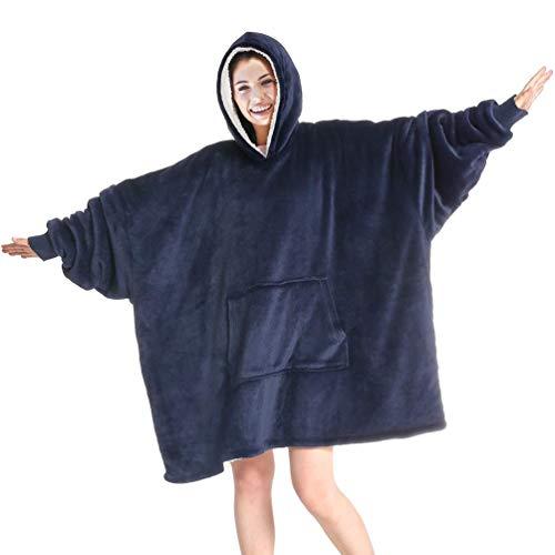 Huggle Sweat à capuche surdimensionné pour homme, femme, fille, garçon - Noir - Taille Unique