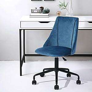 Yata Home – Silla de oficina ergonómica de tela aterciopelada de metal negro, altura ajustable giratoria 360 grados…
