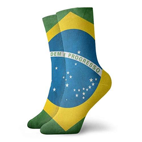 heefan Men's And Women Socks- Brazilian Flag Colorful Funny Novelty Crew Socks