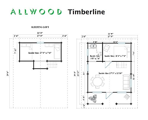 """Allwood timberline   483 sqf cabin kit 3 inside floor area: 354 sqf + loft 129 sqf wall thickness: 2-3/4"""" (70 mm) - dual t&g pattern   ridge height: 14'9"""" snow load capacity 46 lbs/sqf - for 70 lbs/sqf and 96 lbs/sqf values see asin:b07ty5msy8"""