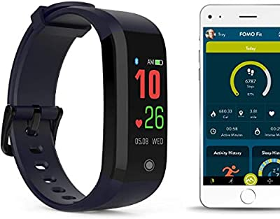 FOMO Fit Color Screen Fitness Tracker - Waterproof, Deep Blue Band - Sports Watch with Heart Rate Monitor - Step Count and Sleep Monitoring with Phone App